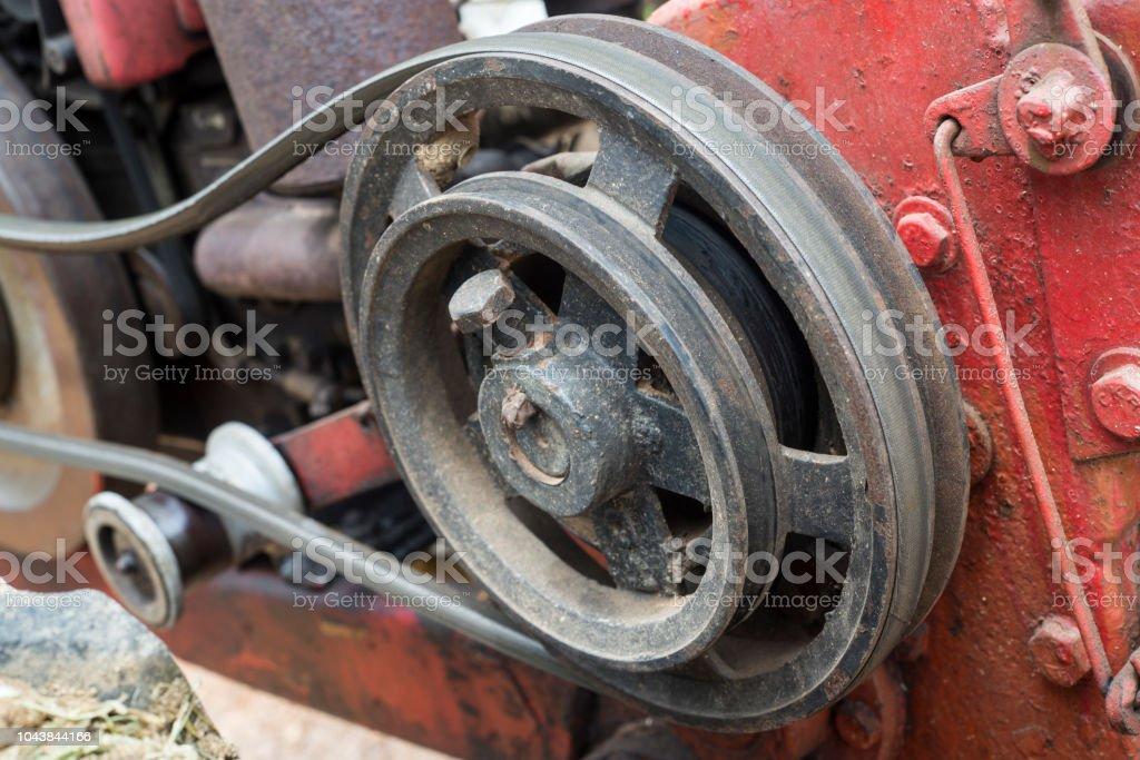 Engine belt, walking tractor stock photo