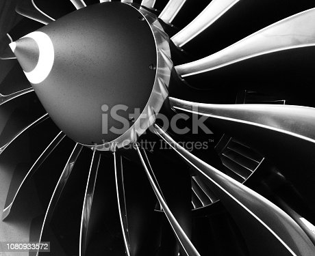 Turbofan engine blades of the commercial airplane.