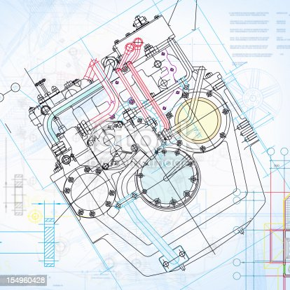 istock Engine Blueprint-Manufacture Industry Design Concept 154960428