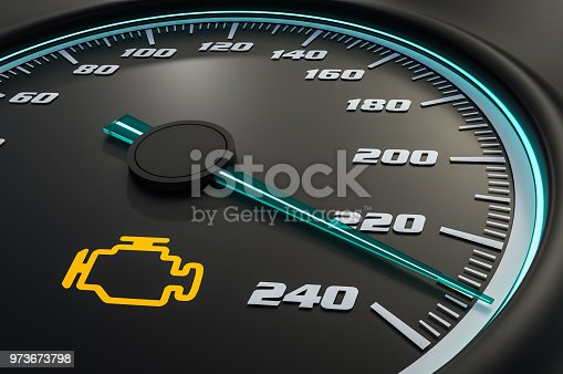istock Engine check light on car dashboard 973673798