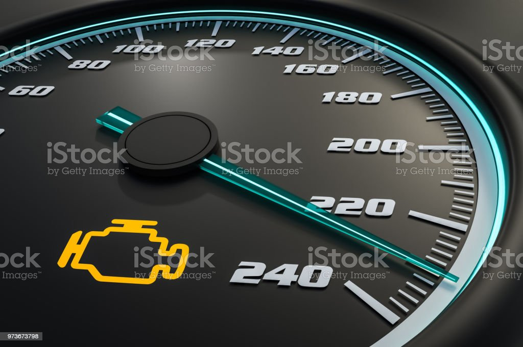 Engine check light on car dashboard stock photo
