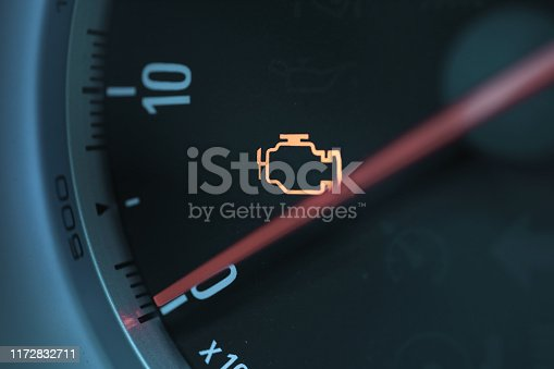 istock Engine check warning sign 1172832711