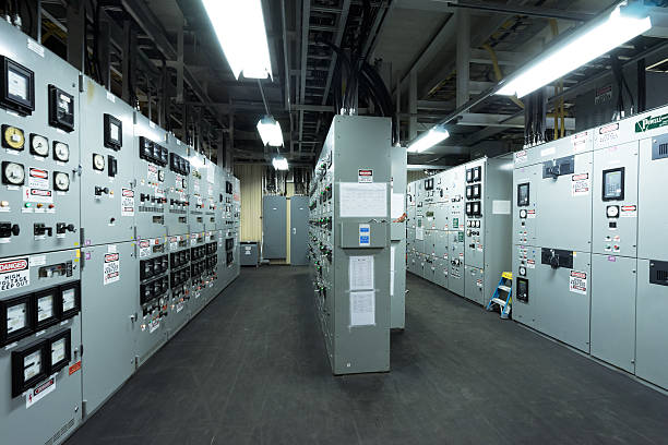 engine control room of the large container vessel - control panel stock photos and pictures