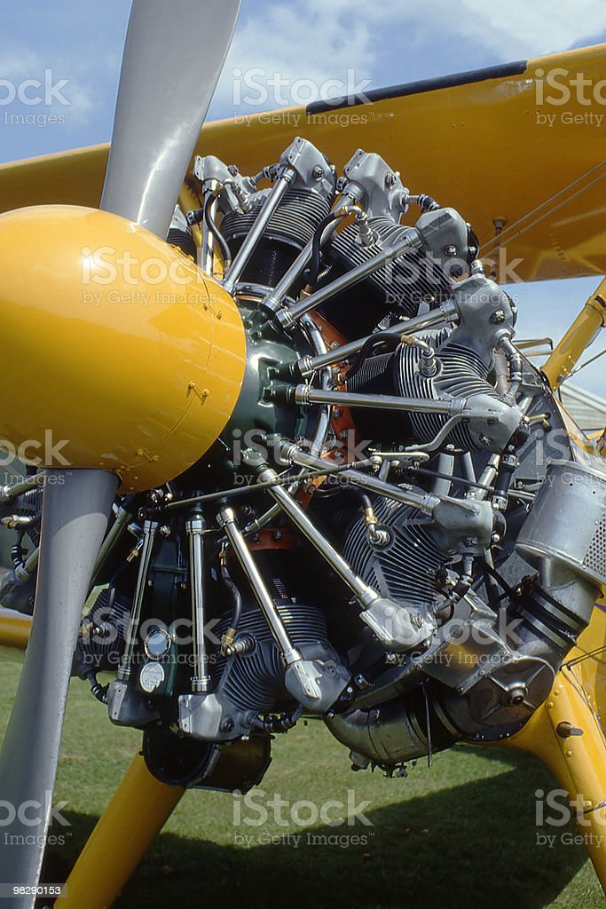 Engine detail on Boeing Stearman Aircraft royalty-free stock photo