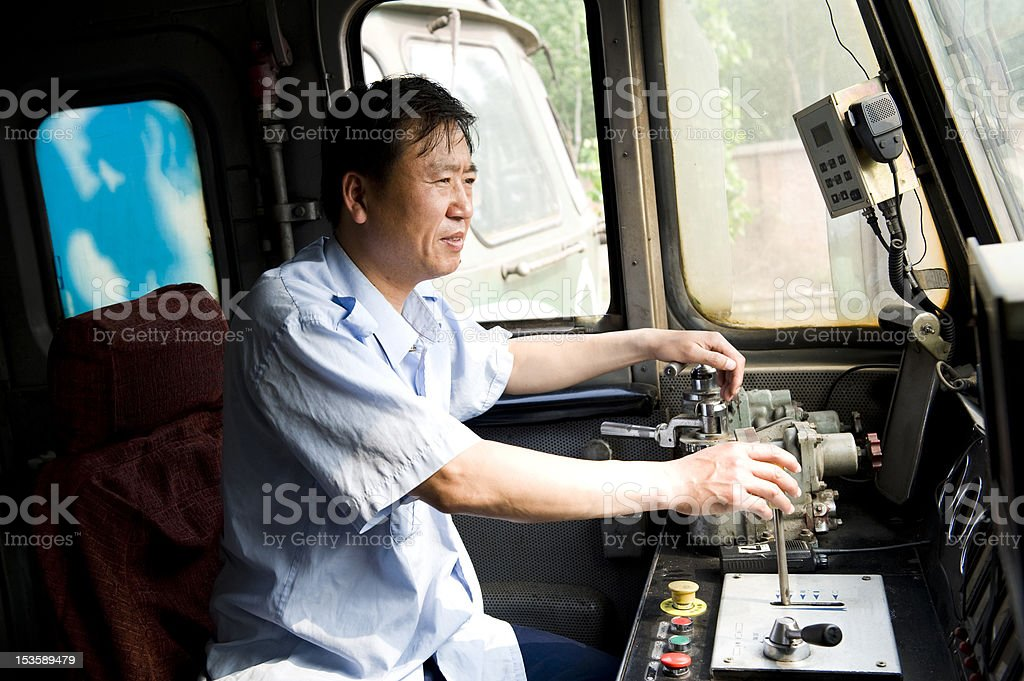 engine driver stock photo