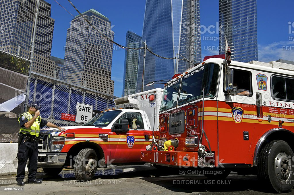 FDNY Engine #10, EMS Ambulance, Policeman at Ground Zero,  NYC stock photo