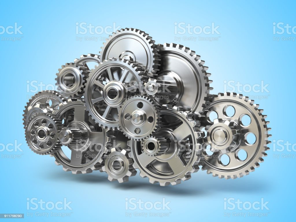 Engine gears in form of cloud. Cloud computing and networkin concept. royalty-free stock photo