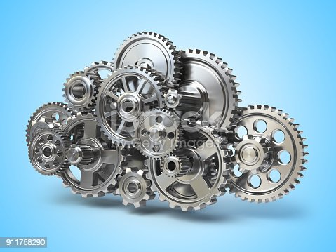 istock Engine gears in form of cloud. Cloud computing and networkin concept. 911758290