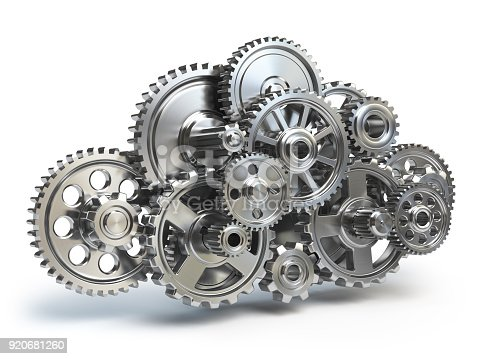 istock Engine gears in form of cloud isolated on white. Cloud computing and networkin concept. 920681260
