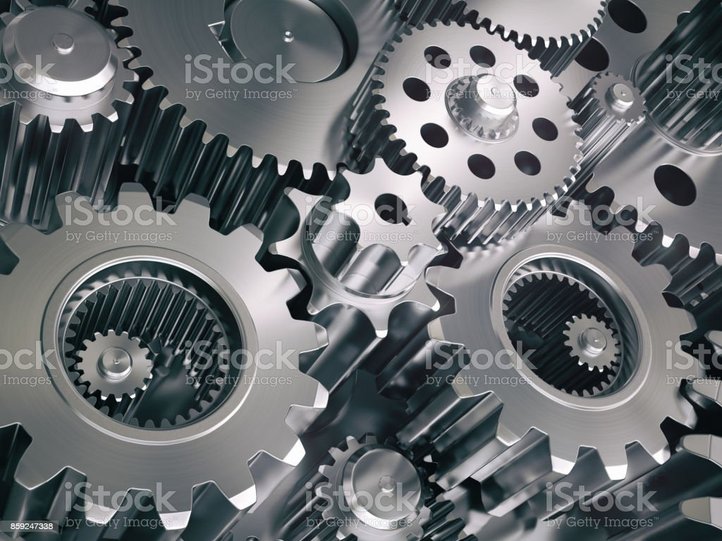 Engine gears wheels and cogwheels. Industrial background. stock photo