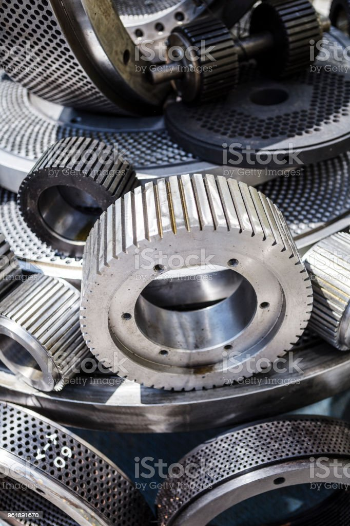 Engine gears wheels and cogwheels. Industrial background royalty-free stock photo