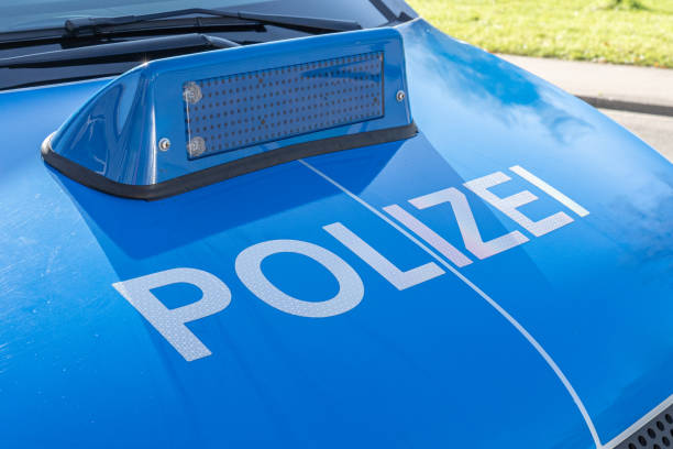 Engine Hood of a police car in Germany stock photo