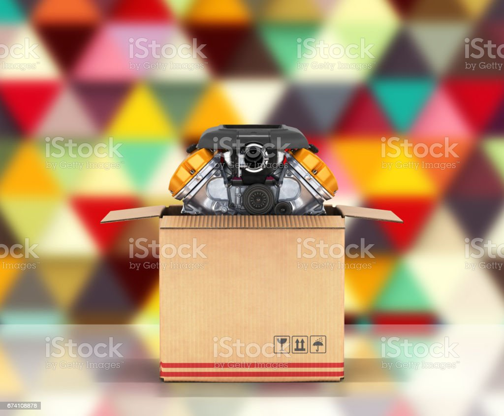 Engine in a cardboard box Concept of sale and delivery of auto parts on abstract background 3d royalty-free stock photo