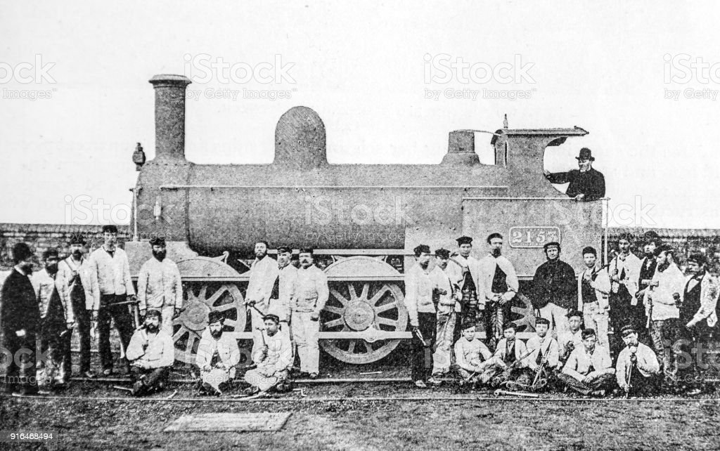Engine made in 25 hours on 6th February 1893 with workmen stock photo