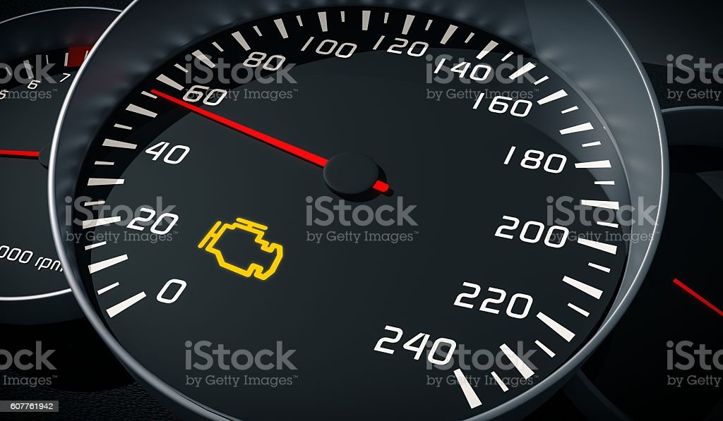Engine malfunction warning light control in car dashboard. 3D illustration. – Foto