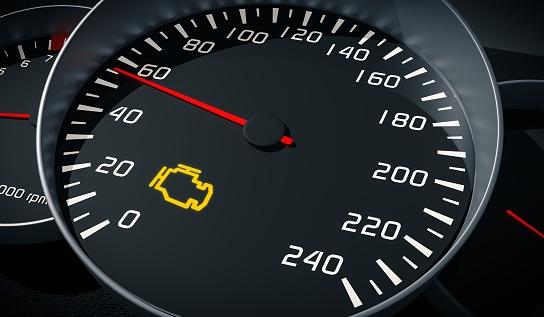 Engine Malfunction Warning Light Control In Car Dashboard 3d Illustration - zdjęcia stockowe i więcej obrazów Bez ludzi