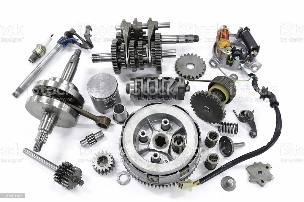 Engine of a dismantled motorcycle royalty-free stock photo