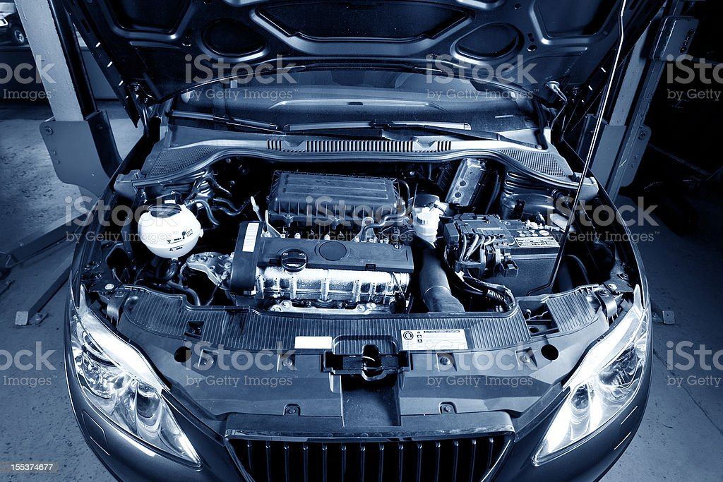 Engine of a modern car stock photo