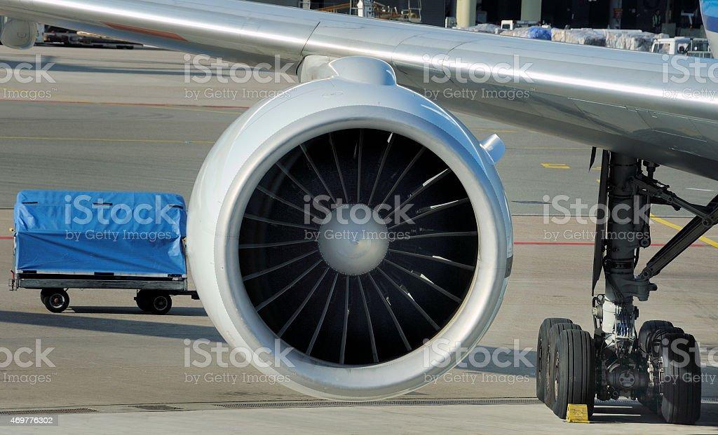 engine of airplane stock photo