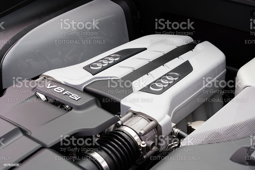 V8 FSI engine of Audi supercar Melbourne, Australia - Oct 23, 2015: V8 FSI engine under the hood of an Audi R8 supercar on public display in Melbourne, Australia Audi Stock Photo