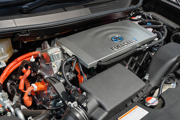 Engine of Fuel Cell Vehicle stock photo