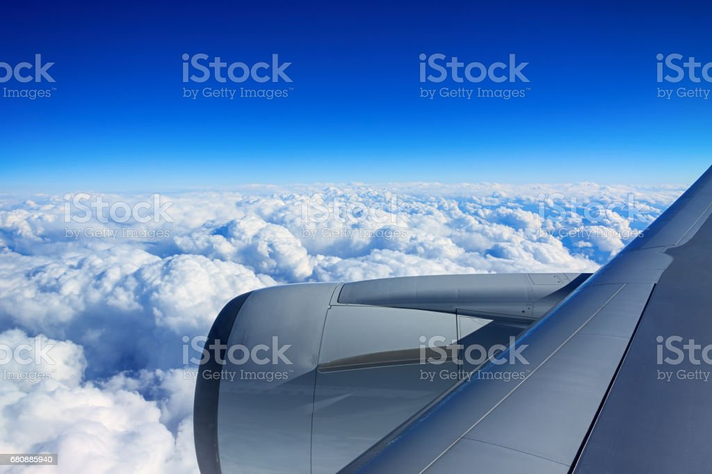 Engine of passenger airplane when airplane flying in the sky royalty-free stock photo
