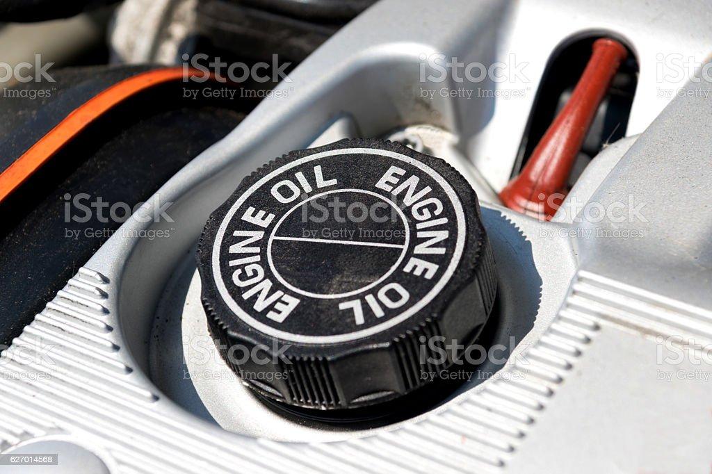 Motoröl und ein Motor stock photo