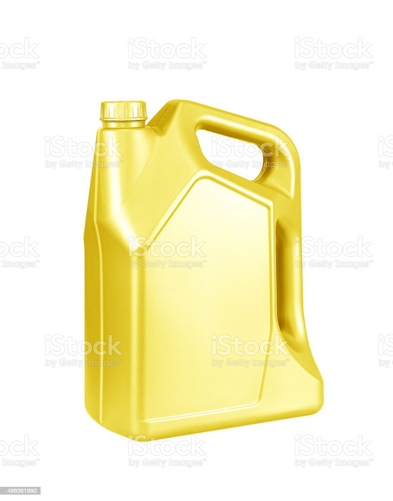 Engine oil canister isolated on white background. gold color stock photo