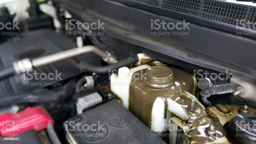 Engine Oil Mix with Oil Cooling Water Car Problems stock photo