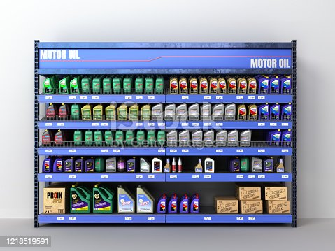 engine oil stand in the supermarket 3d render on white