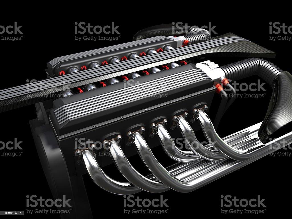 V12 Engine on dark background stock photo