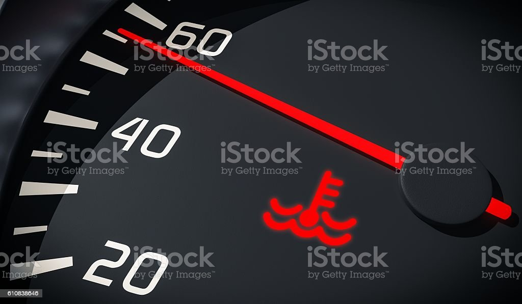 Engine overheating control. Coolant warning light in car dashboard. stock photo