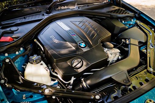 Hong Kong, China June 27, 2016 : BMW M2 2016 Engine on June 27 2016 in Hong Kong.