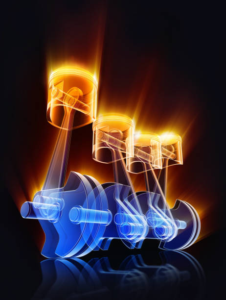 engine 3D rendering of an car engine piston stock pictures, royalty-free photos & images