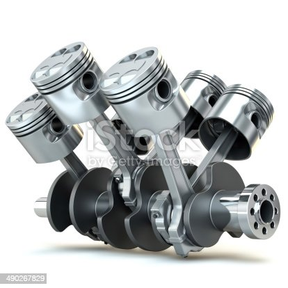 istock V6 engine pistons. 3D image. 490267829