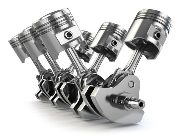 V6 engine pistons and crankshaft isolated on white background. V6 engine pistons and crankshaft isolated on white background. 3d illustration piston stock pictures, royalty-free photos & images
