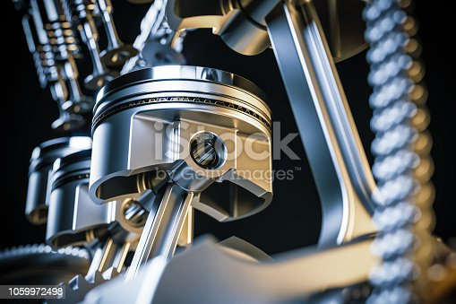 istock Engine pistons. Crankshaft mechanism. 3d render 1059972498