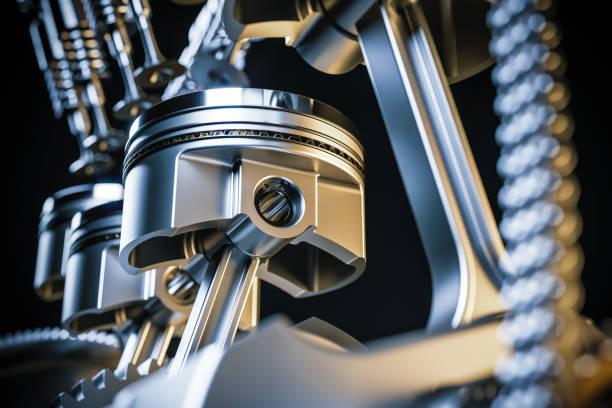 Engine pistons. Crankshaft mechanism. 3d render Engine pistons. Crankshaft mechanism. 3d render concept. vehicle part stock pictures, royalty-free photos & images