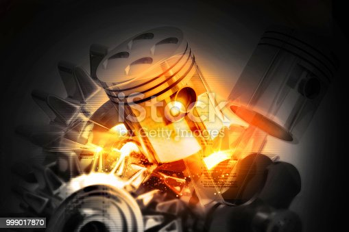 istock Engine pistons on technology background 999017870