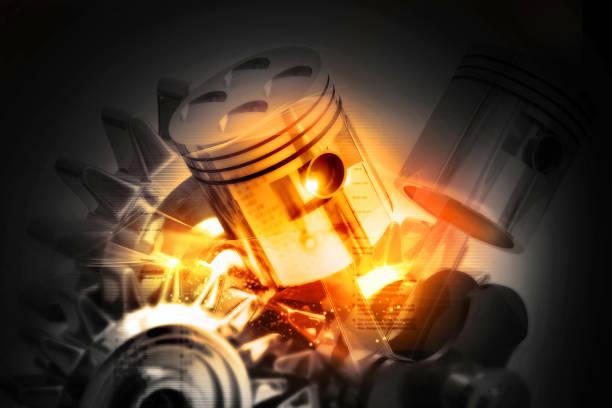 Engine pistons on technology background Engine pistons on technology background piston stock pictures, royalty-free photos & images