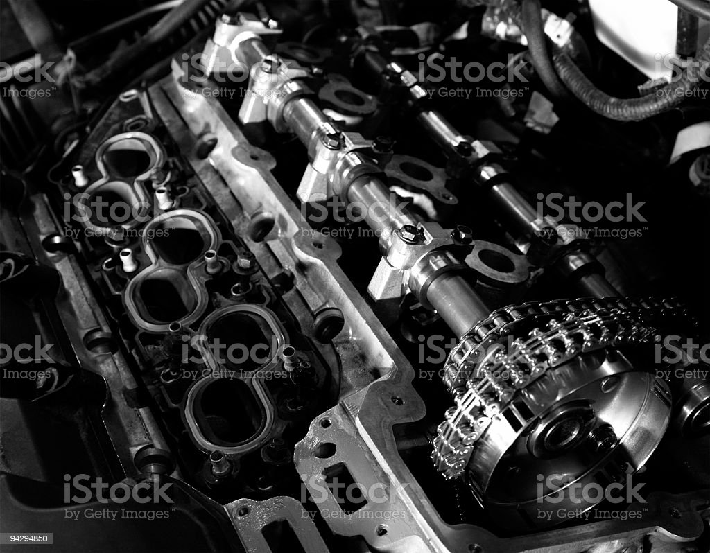 Engine Rebuild B&W royalty-free stock photo