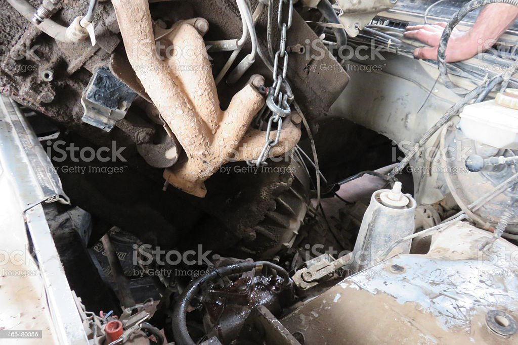 Engine removal stock photo