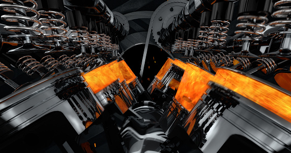 istock V8 Engine Rendering With Explosions And Sparks. 961804990