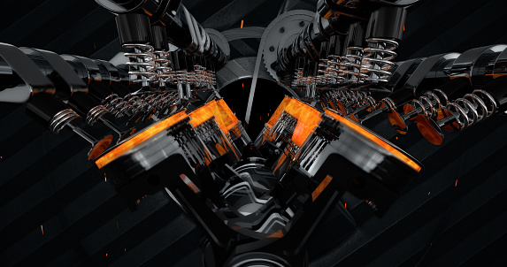 istock V8 Engine Rendering With Explosions And Sparks. 961805064