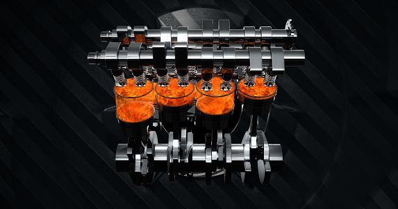 istock V8 Engine Rendering With Explosions And Sparks. Rotating Machines On Background 961805056
