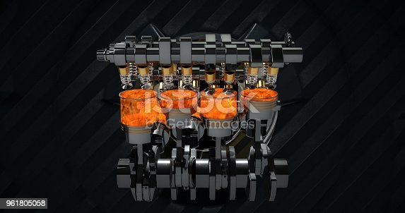 istock V8 Engine Rendering With Explosions And Sparks. Rotating Machines On Background 961805058