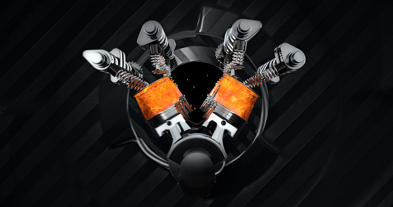 istock V8 Engine Rendering With Explosions And Sparks. Rotating Machines On Background 961805060