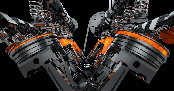 istock V8 Engine Rendering With Explosions. 961804600