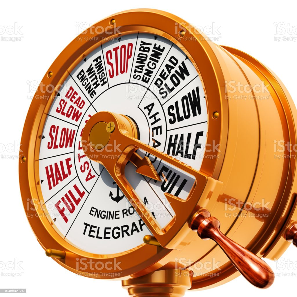 Engine Room Brass Telegraph. 3D rendering isolated on white background stock photo