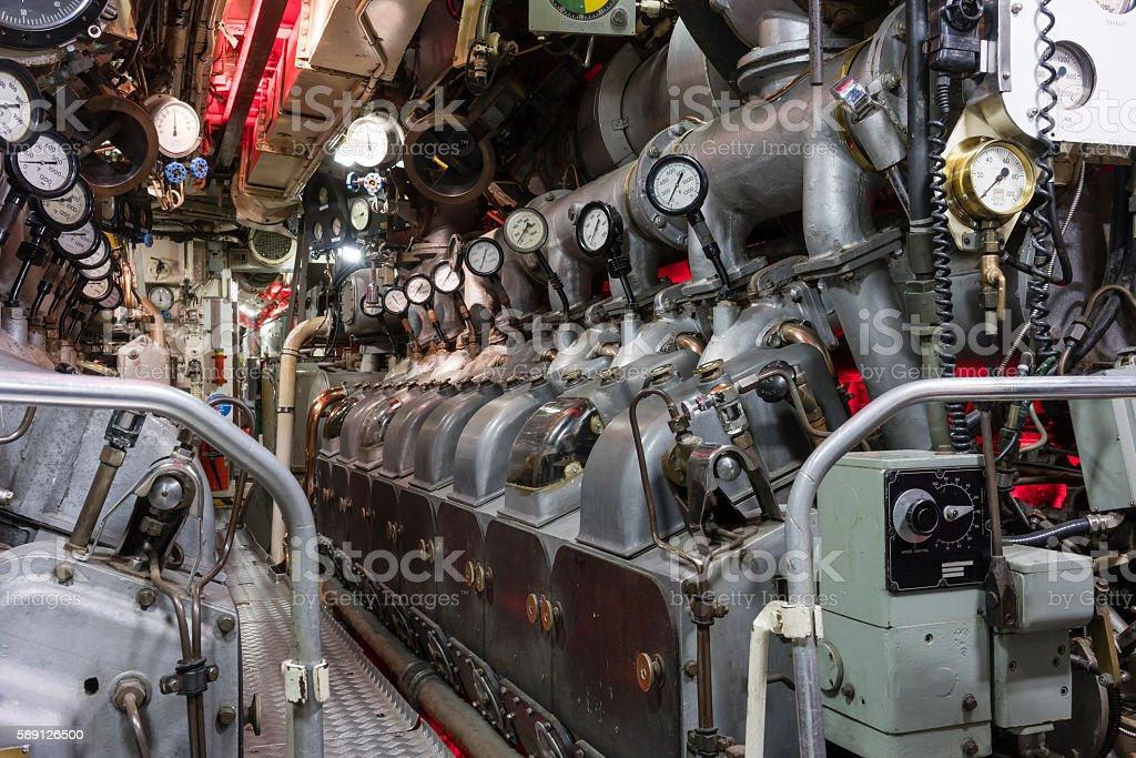 Engine room of submarine stock photo